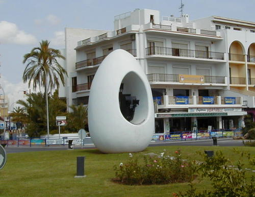 Egg of Columbus sculpture in Sant Antoni de Portmany, Spain