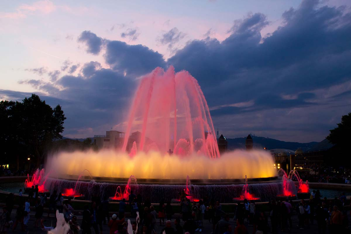 Magic Fountain of Montjuc in Barcelona, Spain